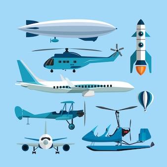 Wektor zestaw latających obiektów transportu. balon na ogrzane powietrze, rakieta, helikopter, samolot i retro dwupłatowiec