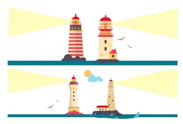 Wektor zestaw latarnie morskie. kreskówka latarnia morska z wiązkami światła.