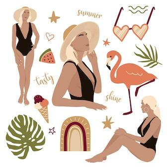 Wektor zestaw letnich piękności moda płaska ilustracja z kobietą flamingo