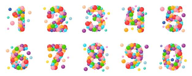 Wektor zestaw liczb kreskówka dla dzieci kolorowe kulki.