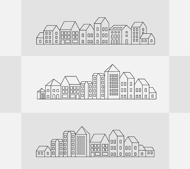 Wektor zestaw liniowych budynków miejskich i ilustracje domów i znaków architektonicznych. do projektowania stron internetowych, wizytówek, zaproszeń i ulotek o tematyce miejskiej z linearną grafiką modową.