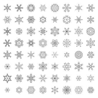 Wektor zestaw liniowych płatków śniegu