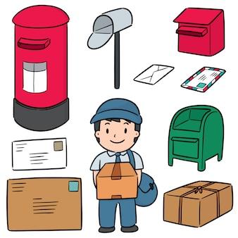 Wektor zestaw listonosz i skrzynka pocztowa