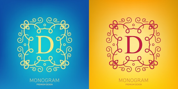 Wektor zestaw logo rocznika monogram.