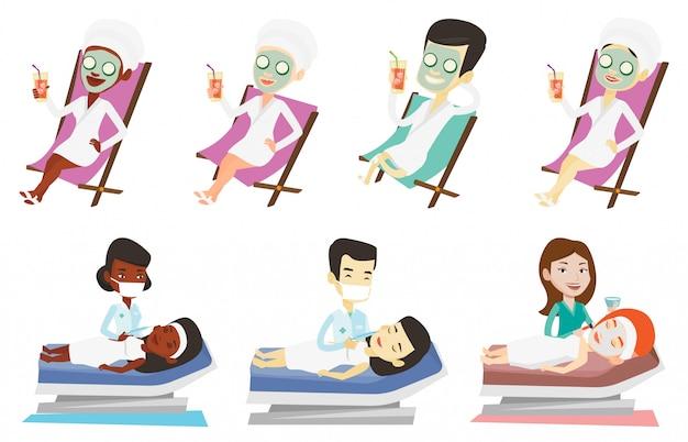 Wektor zestaw ludzi podczas zabiegów kosmetycznych.