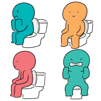 Wektor zestaw ludzi używa spłukiwanej toalety