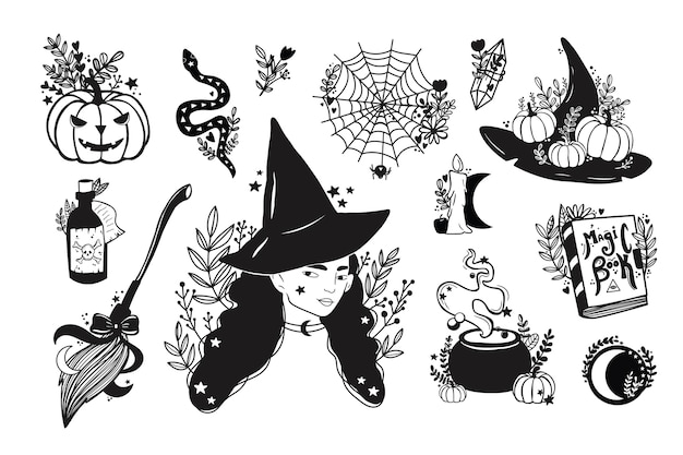 Wektor zestaw magicznych elementów czarownicy. ręcznie rysowane, doodle, szkic kolekcji maga.