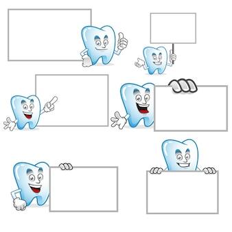 Wektor zestaw maskotka zębów
