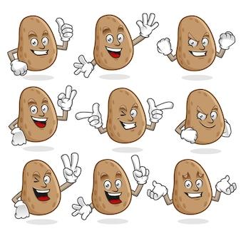 Wektor zestaw maskotka ziemniaków