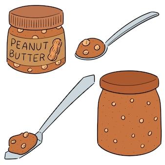 Wektor zestaw masła orzechowego