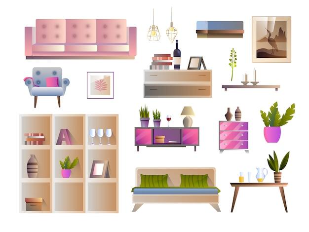 Wektor zestaw mebli z sofą, fotelem, łóżkiem, stołem, kwadratowymi półkami, obrazem, roślinami domowymi, lampami.