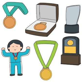 Wektor zestaw medalu i trofeum