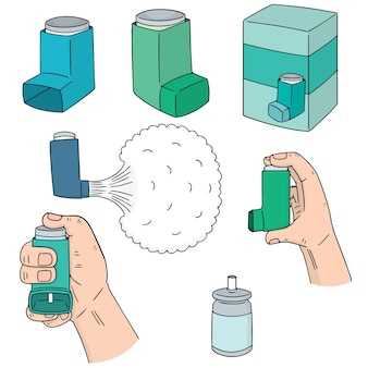 Wektor zestaw medycyny inhalacyjnej