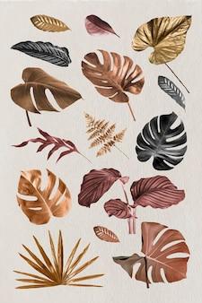 Wektor zestaw metalowych elementów tropikalnych liści