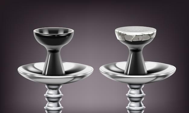 Wektor zestaw metalowych łodyg fajki wodnej i ceramicznych misek z / bez folii z bliska na białym tle na ciemnym tle