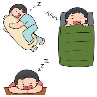 Wektor zestaw mężczyzn do spania