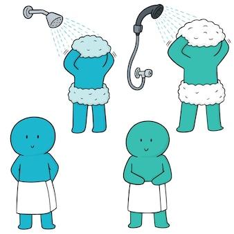 Wektor zestaw mężczyzn prysznica