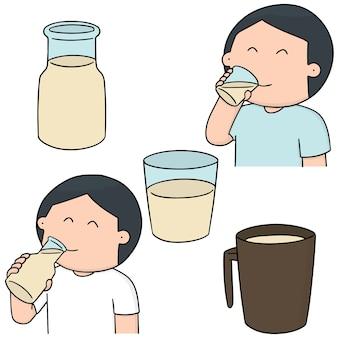Wektor zestaw mężczyzna pije mleko