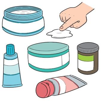 Wektor zestaw miejscowego medycyny kosmetycznej i miejscowej