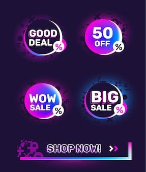 Wektor zestaw modny graficzny gradient neon kolor odznaka sprzedaż i baner na czarnym tle. projekt sprzedaży dla strony internetowej, witryny, banera, reklamy