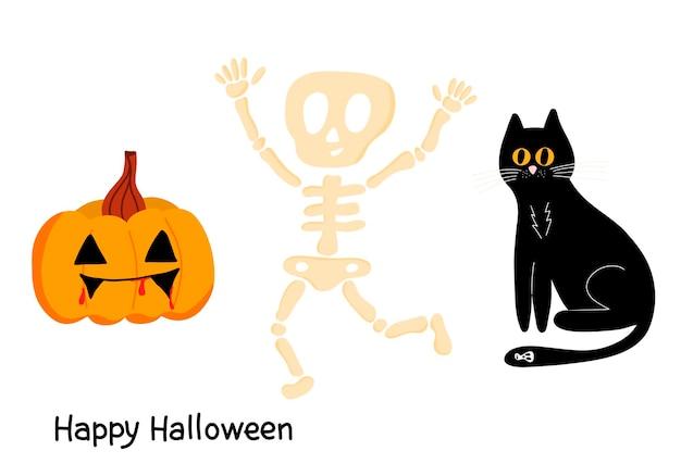 Wektor zestaw na halloween z czarnym kotem, dynią i zabawnym szkieletem na białym tle