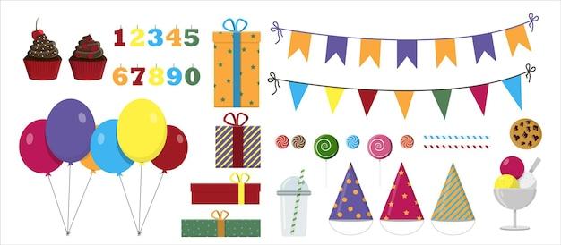 Wektor zestaw na przyjęcie urodzinowe płaska ilustracja projekt z balonami prezenty girlandy