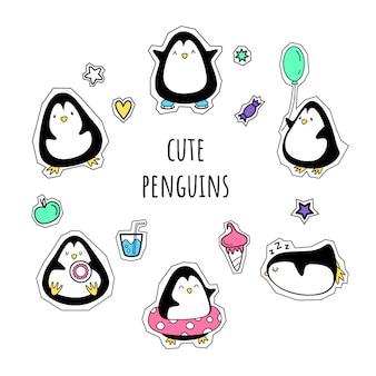 Wektor zestaw naklejek. pingwiny. styl kreskówki,