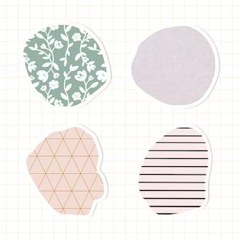 Wektor zestaw naklejek z pastelowym wzorem