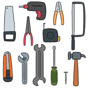 Wektor zestaw narzędzi budowlanych