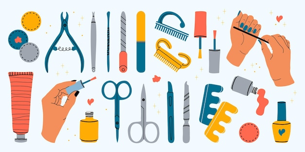 Wektor zestaw narzędzi do manicure