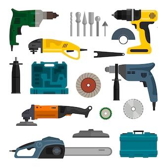 Wektor zestaw narzędzi elektrycznych zasilania. narzędzia do napraw i prac budowlanych