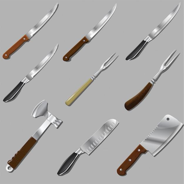 Wektor zestaw narzędzi kuchennych