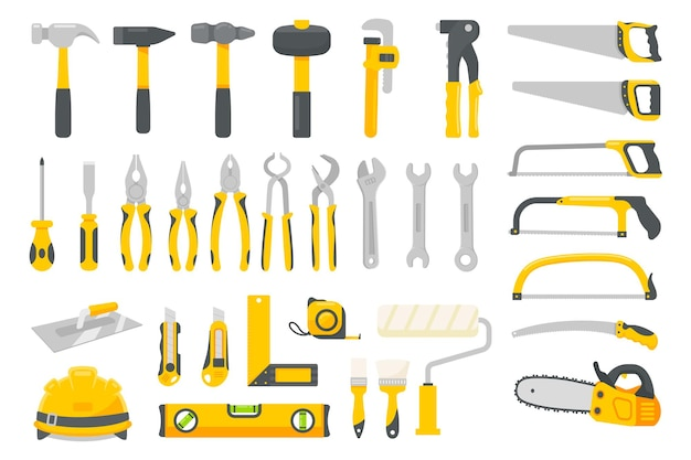 Wektor zestaw narzędzi mechanik. narzędzia budowlane do napraw domowych na białym tle