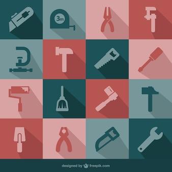 Wektor zestaw narzędzi płaskie