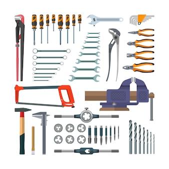Wektor zestaw narzędzi roboczych w stylu płaski. elementy projektu na białym tle. remonty budowlane i domowe. uchwyt na kran i matryca do gwintowania.