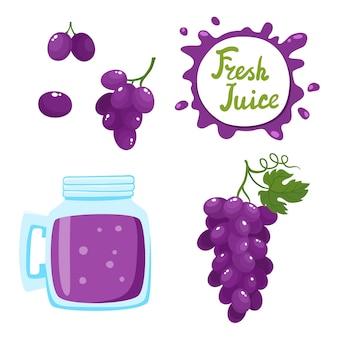 Wektor zestaw naturalnego soku ze świeżych winogron w banku i winogron na białym tle. zdrowy organiczny napój owocowy, koktajl, lemoniada dla zdrowego życia, diety i dymki z odręcznym napisem.