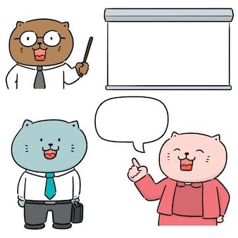 Wektor zestaw nauczyciela kota