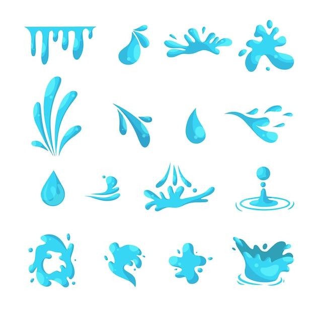 Wektor zestaw niebieskich rozprysków wody, krople, smugi płynów