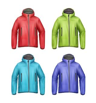 Wektor zestaw niebieskich, zielonych, czerwonych, turkusowych kurtek unisex softshell z widokiem z przodu kaptur na białym tle