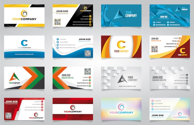 Wektor zestaw nowoczesne kreatywne wizytówki gotowe do druku