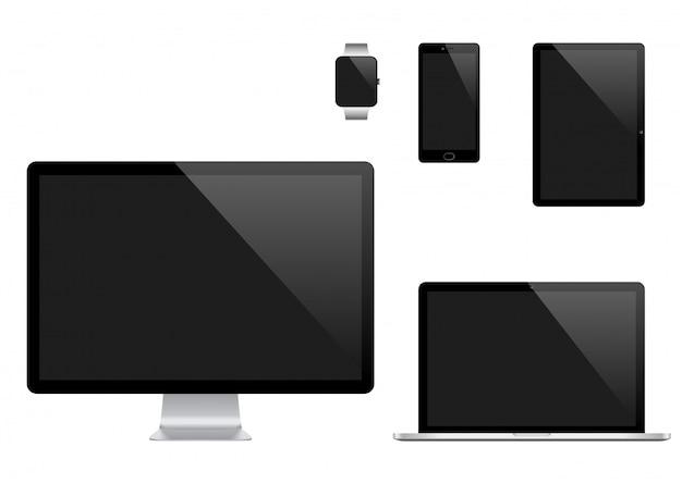 Wektor zestaw nowoczesnych urządzeń cyfrowych
