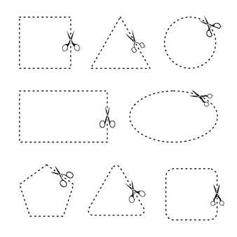 Wektor zestaw nożyczek do cięcia. nożyczki z liniami cięcia, kwadrat, trójkąt, pięciokąt, prostokąt