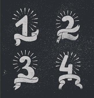 Wektor zestaw numerów rocznicowych projektowania 1 2 3 4 kompozycje ikon z wstążkami