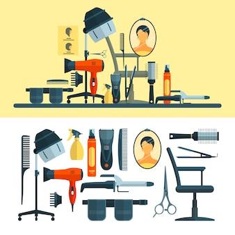 Wektor zestaw obiektów fryzjerskich i narzędzi. wyposażenie salonów fryzjerskich, suszarka do włosów z kapturem, suszarka do włosów, grzebień, nożyczki.