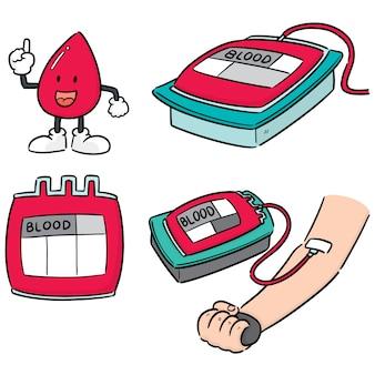 Wektor zestaw oddawania krwi