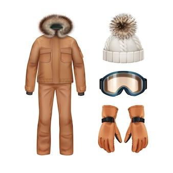 Wektor zestaw odzieży sportowej zimowej: brązowy płaszcz z futrzanym kapturem, spodnie, rękawiczki, biała czapka z dzianiny i widok z przodu gogle na białym tle