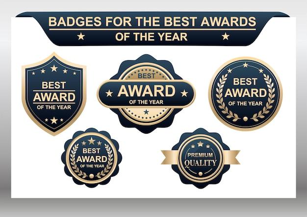 Wektor zestaw odznak dla najlepszych nagród roku