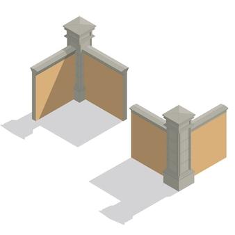 Wektor zestaw ogrodzenia izometryczny, zestaw budowlany
