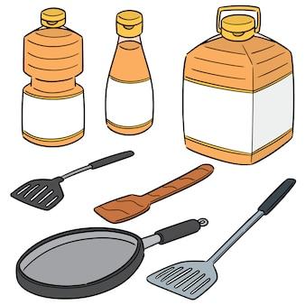 Wektor zestaw oleju roślinnego, patelni i płetwy