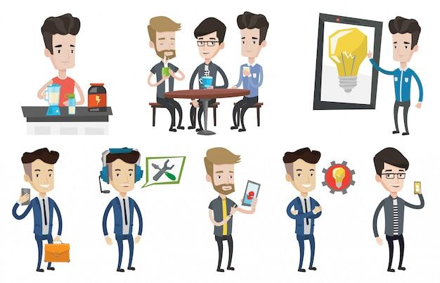 Wektor zestaw osób korzystających z nowoczesnych technologii.